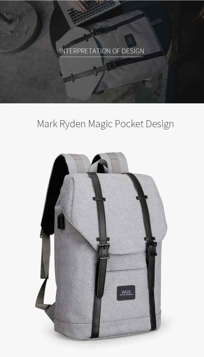 unisex grey school backpack