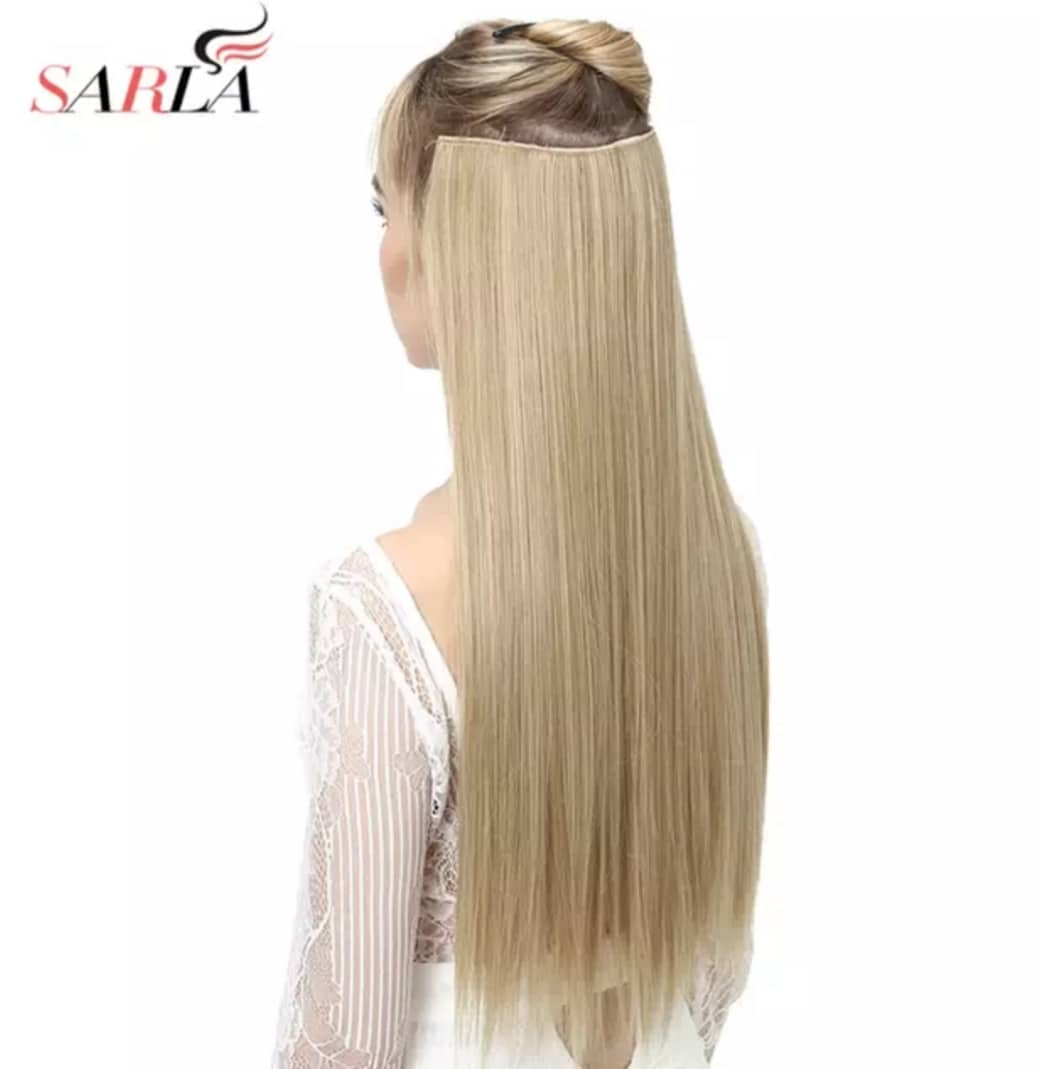 "Long Straight Flase Hair Pieces For Women 24"" 5clips"