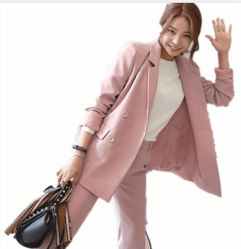 girl pink blazer for work