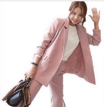 girl pink blazer for work