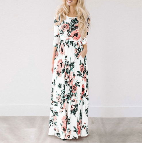 long floral dress for summer