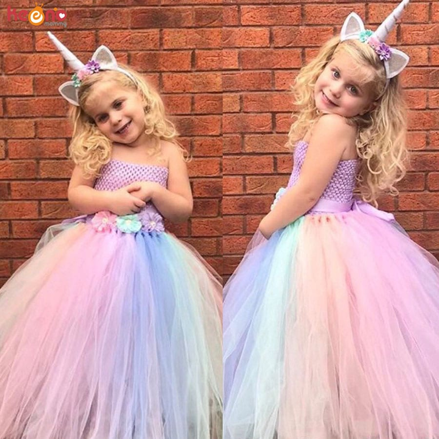 Baby Girl Flower Pony Unicorn Tutu Dress Extra Fluffy Kids Fairy Wedding Birthday Party Dresses with Hair Hoop for Cosplay (1)