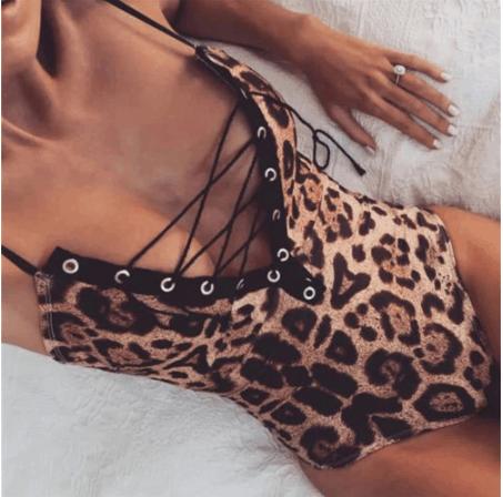 leopard print swimwear