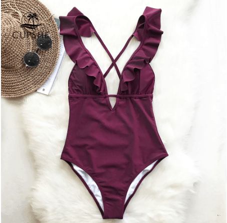 Ruffled Neck Swimsuit
