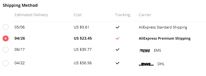 aliexpress premium shipping