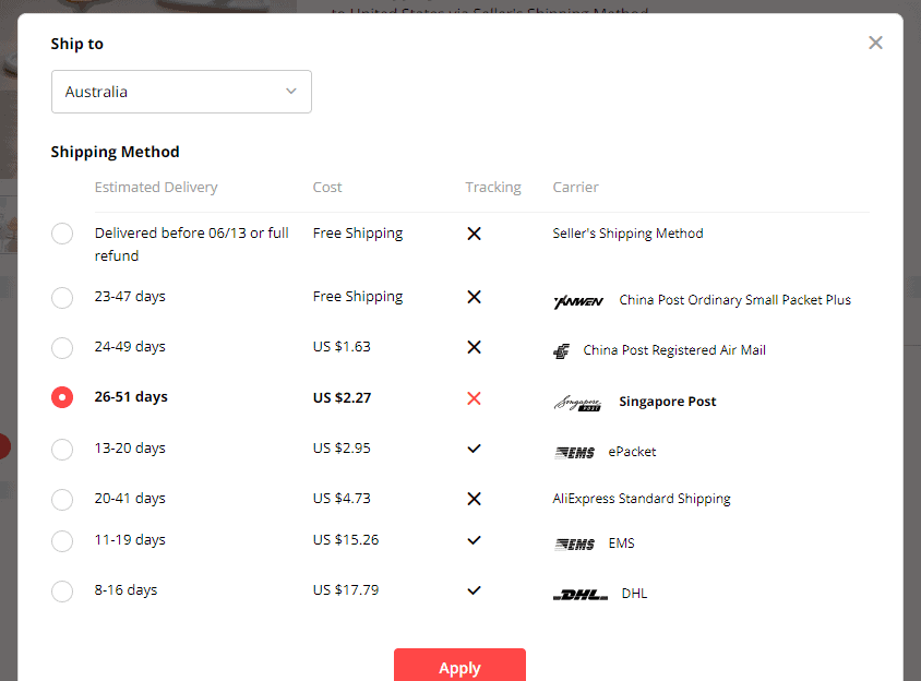 australia aliexpress shipping time