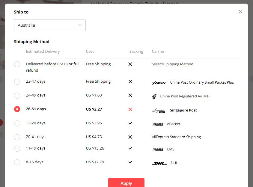 australia aliexpress shipping time