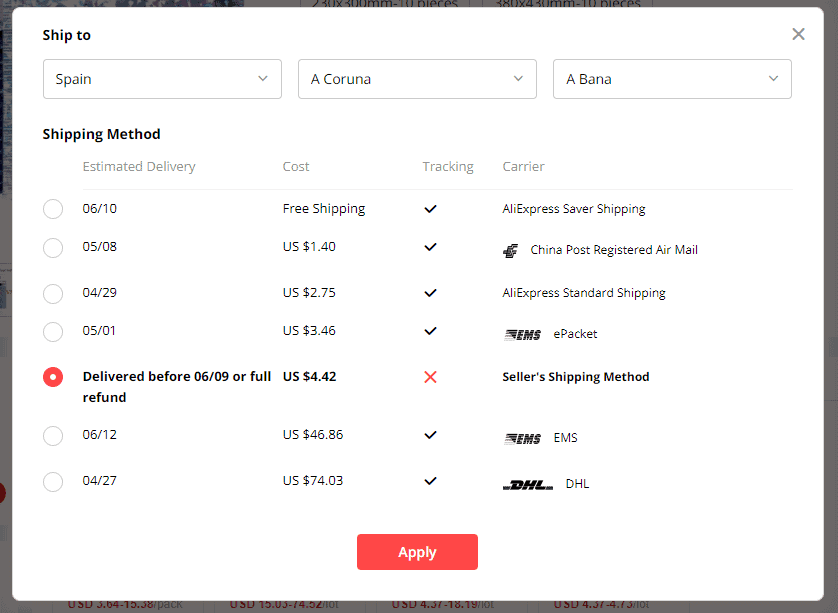 spain aliexpress shipping time
