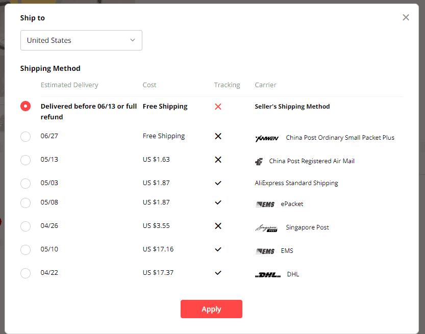 usa aliexpress shipping