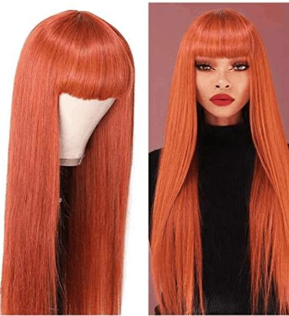 Beauty Forever Dark Auburn Color Silk Straight Wig amazon
