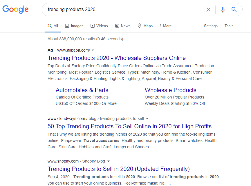 google search for trending products