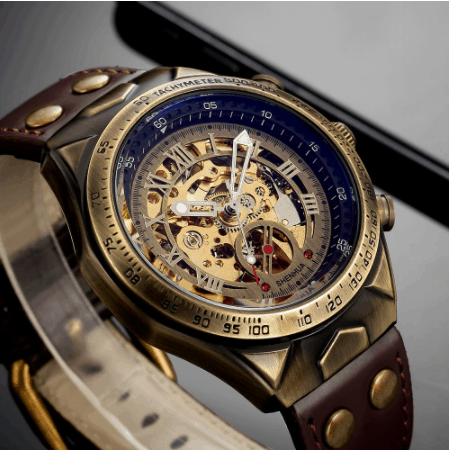 leather mechanical watch for men