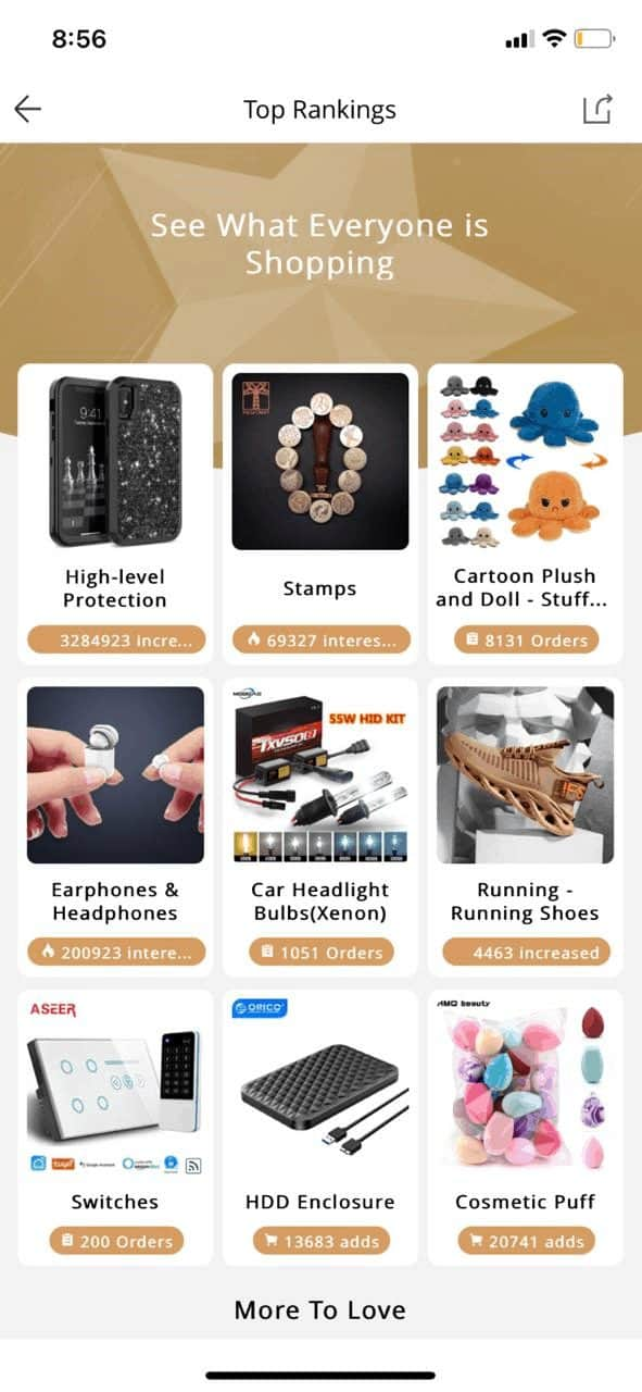 searching for best selling aliexpress products